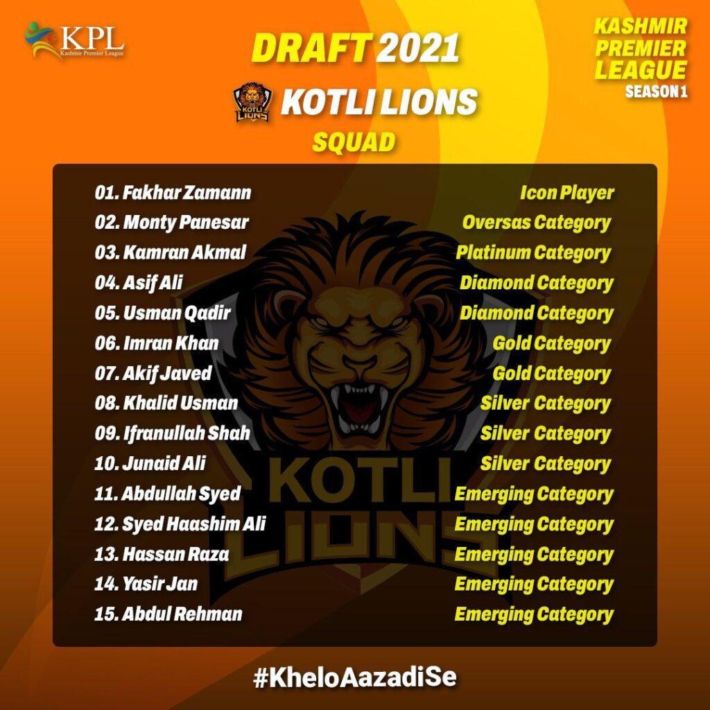 Kotli Lions Full Squad - KPL 2021